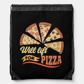 Will Lift For Pizza - Funny Novelty Workout Drawstring Bag