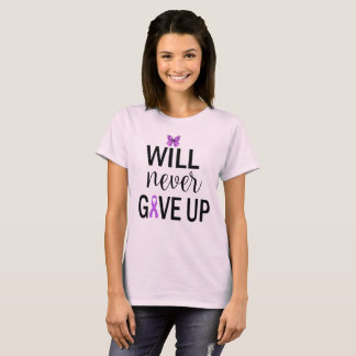 Will Never Give Up Fibromyalgia T Shirt Light Pink