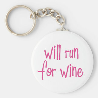 Will run for wine basic round button key ring