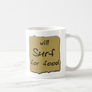Will Surf For Food Coffee Mug