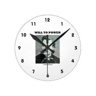 Will To Power Friedrich Nietzsche Round Clocks