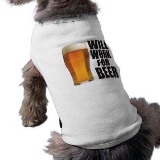 Will Work For Beer Sleeveless Dog Shirt