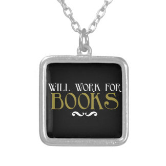 Will Work for Books Silver Plated Necklace