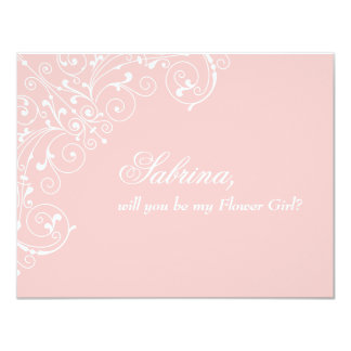 Will you be Flower Girl Delicate Pink Blush Card