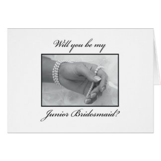 Will You Be Junior Bridesmaid Black, White, Pearls Card