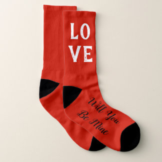 Will You Be Mine Valentine Wedding Party Socks 1