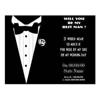 will you be my best man ? be my groomsmen postcard