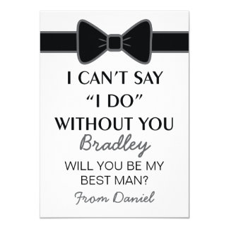 Will You Be My Best Man Black Bow Tie Card