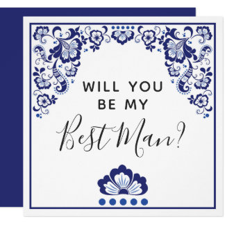 Will You Be My Best Man? Delfts Blauw Delft Blue Card
