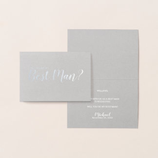 Will You Be My Best Man? Elegant Silver Foil Card