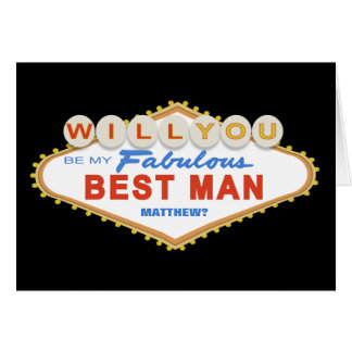 Will You Be My Best Man Las Vegas Sign Card