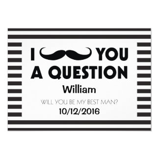 Will You Be My Best Man Moustache Black Stripes 13 Cm X 18 Cm Invitation Card