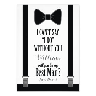 Will You Be My Best Man - Tuxedo Tie Braces 11 Cm X 16 Cm Invitation Card