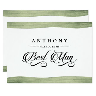 Will You be my Best Man? Watercolor Invitations