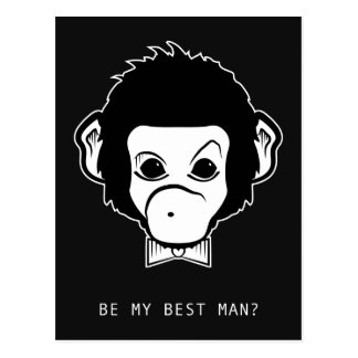 will you be my bestman? mister monkey postcard