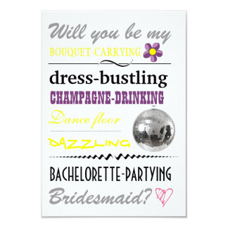 """Will you be my Bridesmaid?"" 9 Cm X 13 Cm Invitation Card"