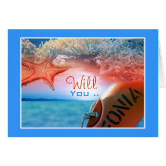 Will you be my bridesmaid? beach theme stationery note card
