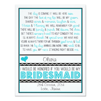 Will you be my Bridesmaid? Blue/Black Poem NIECE 11 Cm X 14 Cm Invitation Card