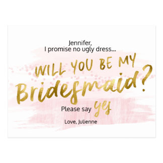 Will you be my bridesmaid Blush & Gold Watercolor Postcard