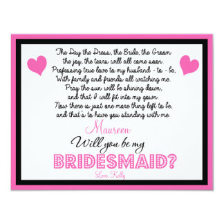 Will you be my Bridesmaid? Card 11 Cm X 14 Cm Invitation Card