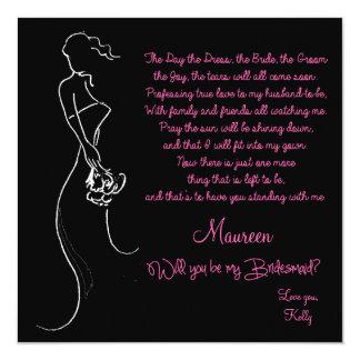 Will you be my Bridesmaid? Card 13 Cm X 13 Cm Square Invitation Card