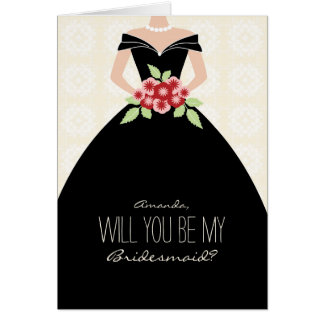 Will You Be My Bridesmaid Card (black)