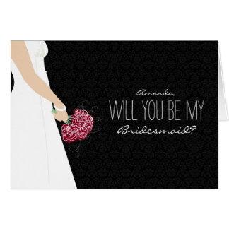 Will You Be My Bridesmaid Card black ebony