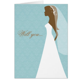 Will you be my bridesmaid card (blue)