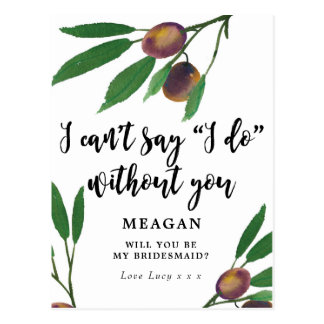 Will you be my bridesmaid card boho olive