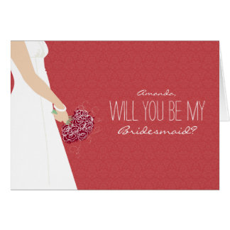Will You Be My Bridesmaid Card (brick red)