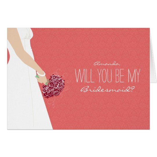 Will You Be My Bridesmaid Card (cayenne)