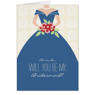Will You Be My Bridesmaid Card (cobalt blue)