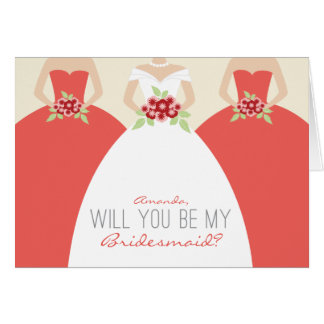Will You Be My Bridesmaid Card (coral)