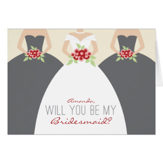 Will You Be My Bridesmaid Card (grey)