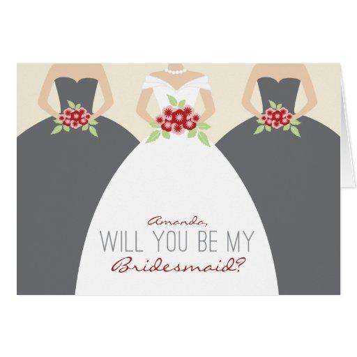 Will You Be My Bridesmaid Card (grey)