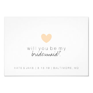 Will You Be My Bridesmaid Card - Heart Peach