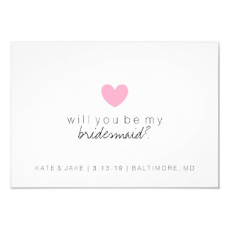 Will You Be My Bridesmaid Card - Heart Pink