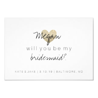 Will You Be My Bridesmaid Card - Heart's Fab 2 9 Cm X 13 Cm Invitation Card