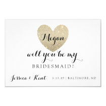 Will You Be My Bridesmaid Card - Heart's Fab II 9 Cm X 13 Cm Invitation Card