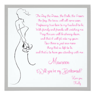 """Will you be my Bridesmaid? Card 5.25"""" Square Invitation Card"""