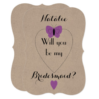 Will you be my Bridesmaid Card | Kraft purple