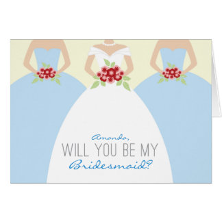 Will You Be My Bridesmaid Card light blue