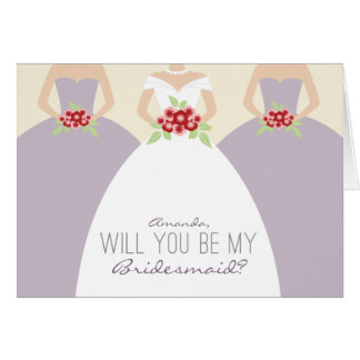 Will You Be My Bridesmaid Card lilac