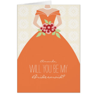 Will You Be My Bridesmaid Card (orange)