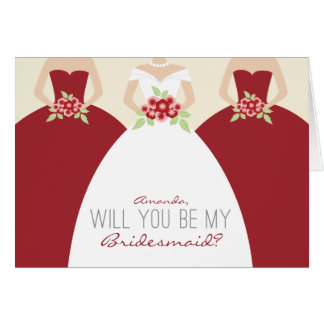 Will You Be My Bridesmaid Card red