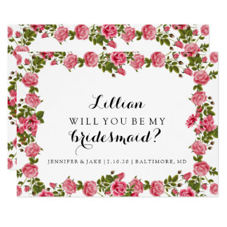 Will You Be My Bridesmaid Card - Roses