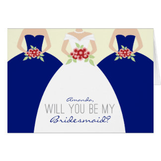 Will You Be My Bridesmaid Card royal blue