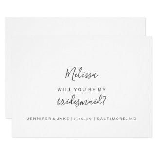 Will You Be My Bridesmaid Card - Simple Script