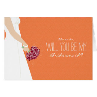 Will You Be My Bridesmaid Card (tangerine)