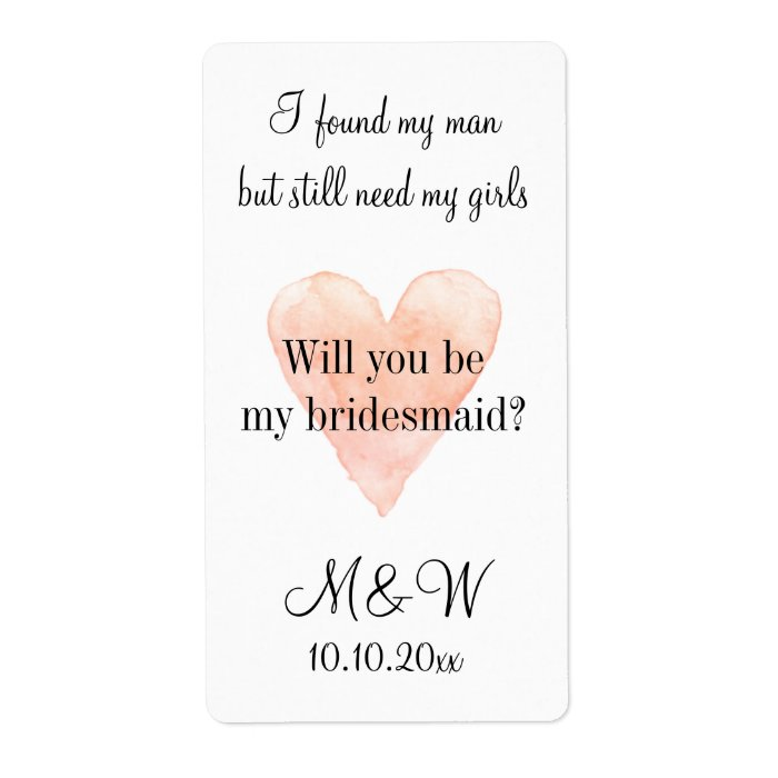 Will you be my bridesmaid chic wine bottle labels zazzle for Will you be my bridesmaid wine label template
